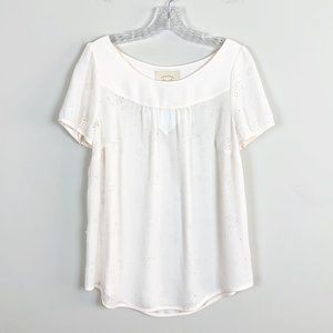Anthropologie | cream floral eyelet blouse size 10